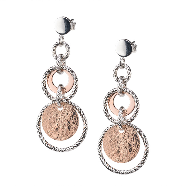 Sterling Silver And Rose Gold Plating Earrings