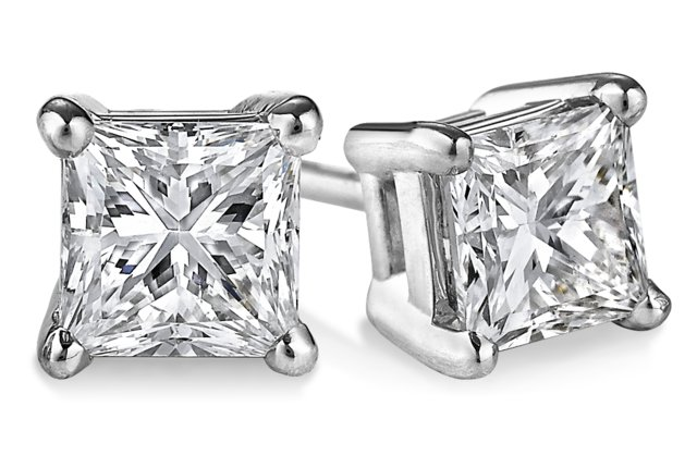 14k White Gold Princess Cut Diamond Stud Earrings 2 02ctw G H Si2 Style Number 802 10314